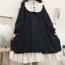 Japanese Style 2020 Autumn Women'S Dresses O-Neck High Waist Slimming Contrast-Color Ruffled Sweet Lolita Dress Kawaii Clothing