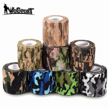 Multi-functional Camo Tape Non-woven Self-adhesive Camouflage Hunting Camping Paintball Airsoft Rifle Waterproof Non-Slip Tape outdoor retractable camouflage tape camo self adhesive non woven fabric wrap desert camo