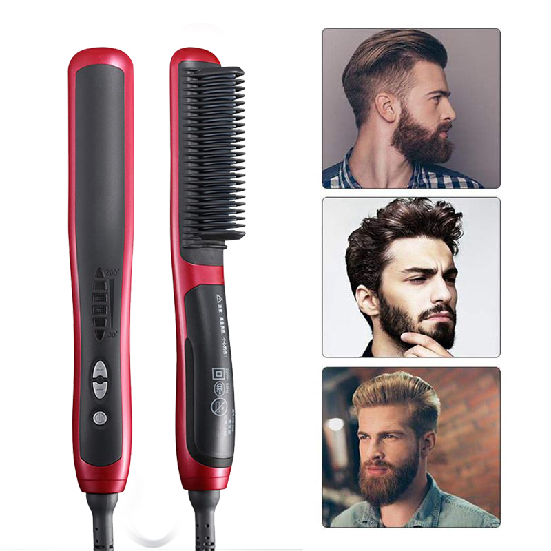Alisador de barba para Homens Multifuncional Cabelo Pente Escova De Cabelo Penteado Encaracolado Volume up Show de Cabelo Cap Aquecimento Eléctrico