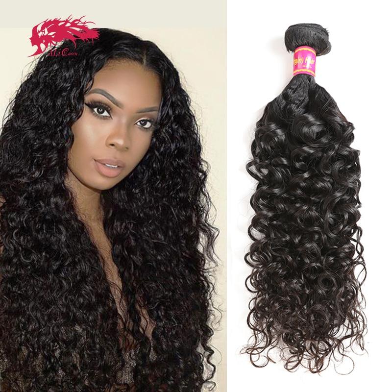 Ali queen cabelo brasileiro ondulado, cabelo humano virgem cacheado 1/3/4 peças de cabelo sem processado extensão cor natural