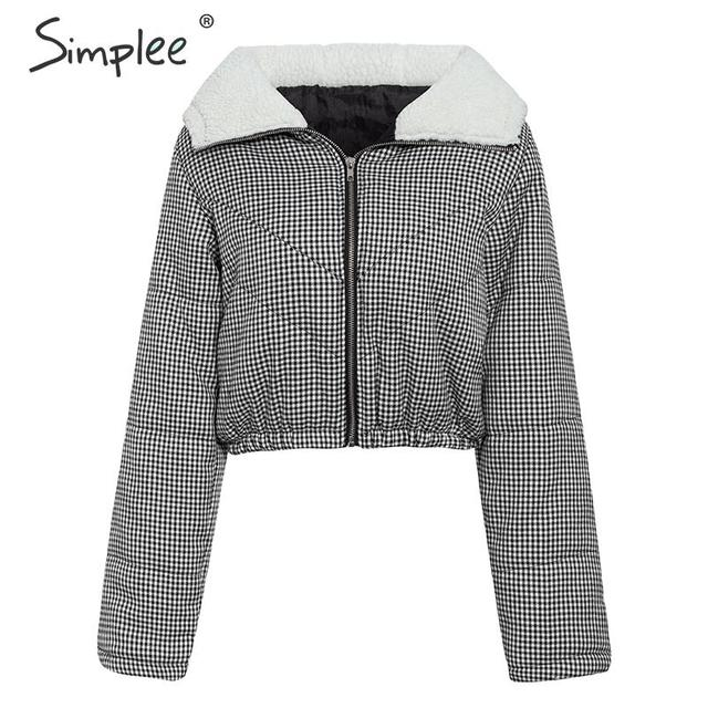 Simplee Chic furry hooded plaid parka women Autumn winter zippers female short padded coat Warm outwear ladies overcoats jackets 8