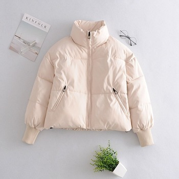 Winter thick warm snow coat jacket ladies solid color coat jacket women casual loose black short trench coat 2020 women fashion winter snow cotton jacket women casual reflective thick warm short parker coat street loose hip hop stand collar jacket