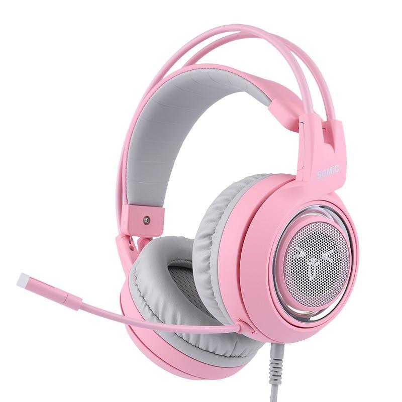 Cabeza montada 7,1 canal ancla gameing gato oreja auricular Rosa Lindo juego auriculares - 2