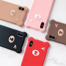 Stereo Cute Little Bear  Soft Silicone Protection Case For iPhone7 8 Plus iPhone XR X XS Max Give Lanshoed