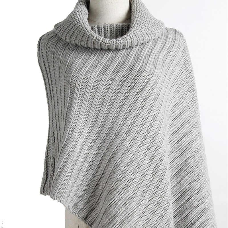 2020 kış yeni kadın bayan pelerin kazak katı panço asimetrik ceket balıkçı yaka Bohemian şal bayan eşarp haki