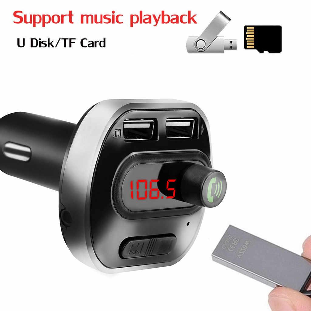 40 @ bluetooth fm 変調器ハンズフリーデュアル usb MP3 サポート tf カード u ディスク MP3 プレーヤー usb カーアクセサリーオーディオケーブル