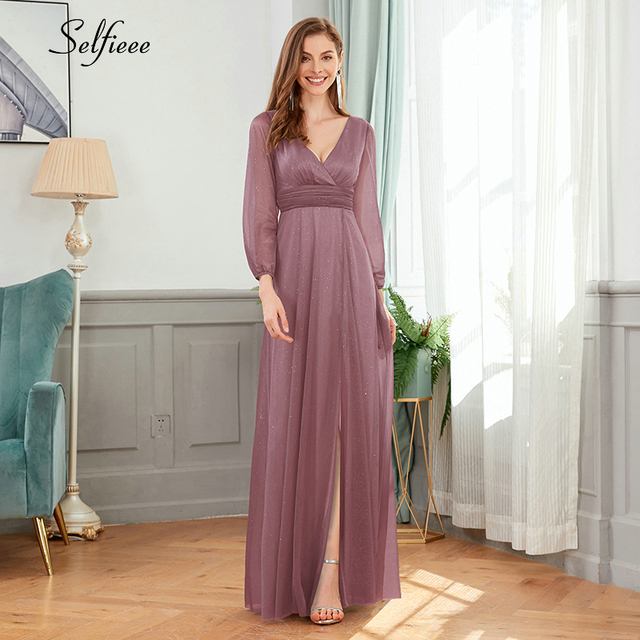 Sexy Maxi Dress A-Line V-Neck Long Sleeve Side Split Ruched Sparkle Formal Party Dress Women Fashion Dress Long Ropa Mujer 2020 1