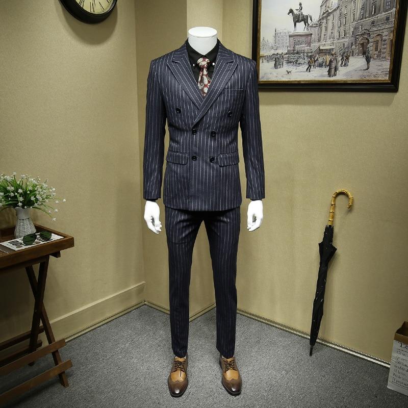 Men Suit Suits Men 2019 Autumn Winter Mens Suits With Pants Deep Grey Stripe Double Breasted Wedding Suits For Men Blazer Pant