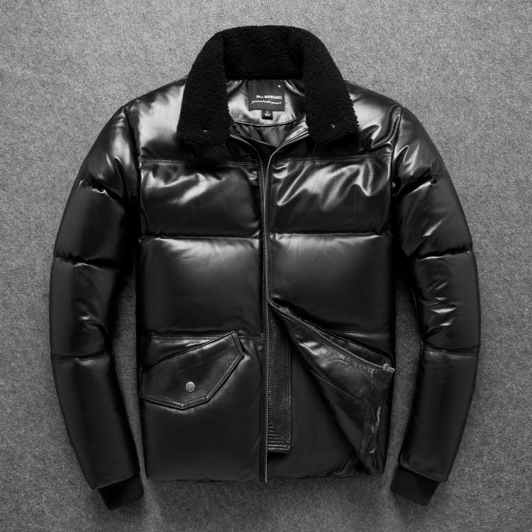 YR! Бесплатная доставка, мужская повседневная куртка размера плюс из натуральной кожи. 90% белый утиный пух, пальто из овчины. Толстая зимняя теплая кожаная куртка Кожаные куртки      АлиЭкспресс