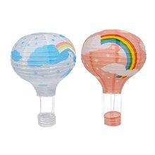 Big deal 2pcs 12Inch Hot Air Balloon Paper Lantern Lampshade Ceiling Light Wedding Party Decor – Pink Rainbow & White Rainbow