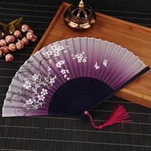 Abanicos de flores plegables de bambú Vintage de verano para fiestas de baile chino, regalos de bolsillo para mujeres, abanicos decorativos para bailar a mano