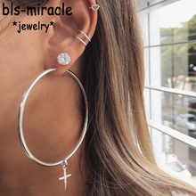 Bls-miracle Bohemia Fashion Crystal Cross Big Round Hollow Heart Shape Earring For Women 2019 Vintage Drop Earrings Jewelry