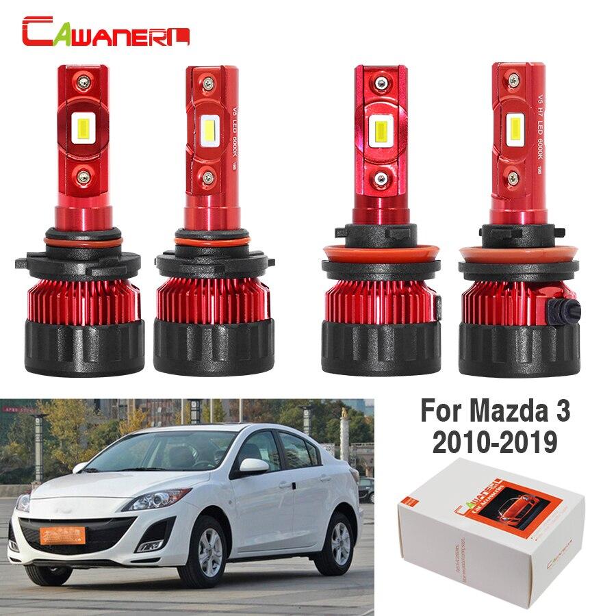 Cawanerl 4 X voiture 60W phare LED ampoule feux de croisement haut 9005 H11 blanc 9000LM 12V pour Mazda 3 2010-2019