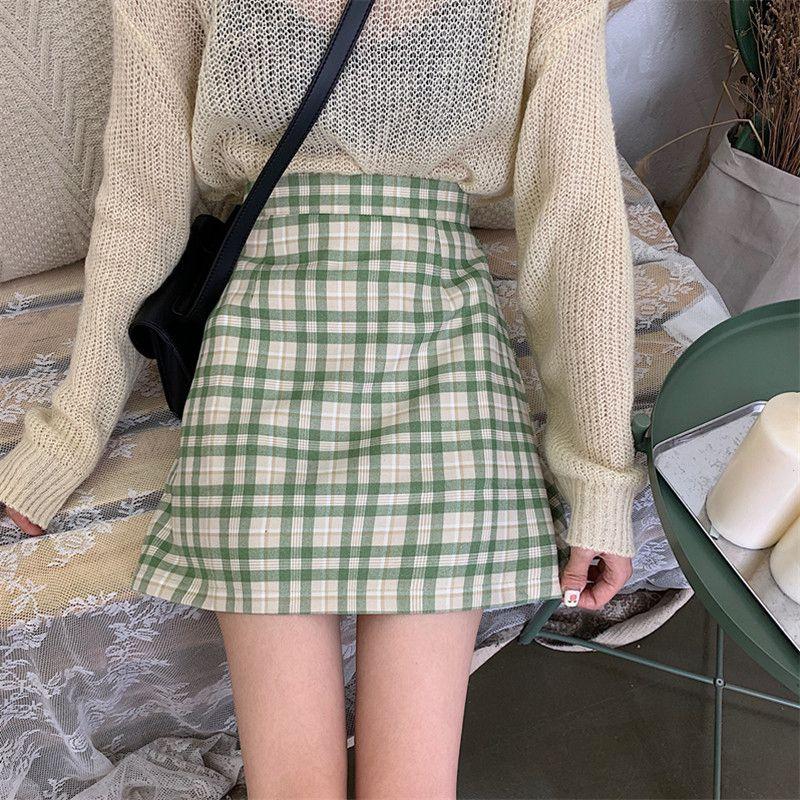 High Waist Skirts Fashion Women Plaid SkirtSlim Temperament A Line Skirt College Style Skirt Hot