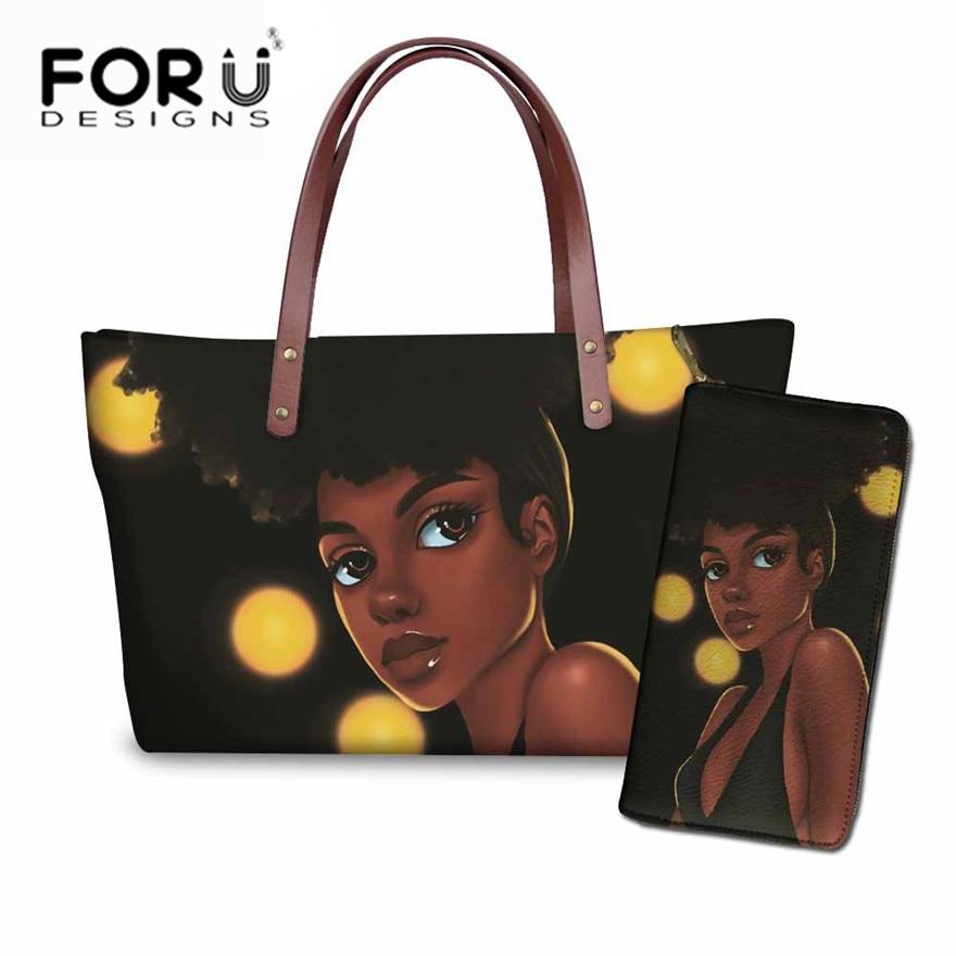 FORUDESIGNS Handbags&Purse Set Women Black Art African Girls Printing Top-Handle Bag Ladies Beach Totes For Females Shoulder Bag