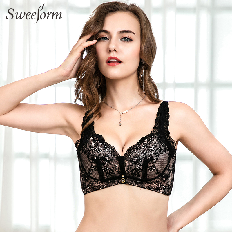 Sweeform Sexy Lace Seamless Bras For Women Sexy Deep V Lingerie Brassiere Fashion Adjusted Bralette Underwear BH <font><b>Staniki</b></font> <font><b>Damskie</b></font> image