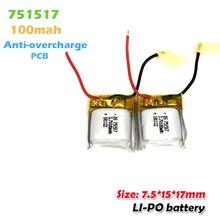 751517 3.7v 100mah batterie Rechargeable au Lithium polymère pour Cx10 CX-10 CX-12 JJ810 820 828 V646 RC Quadrocopter Li ion batterie