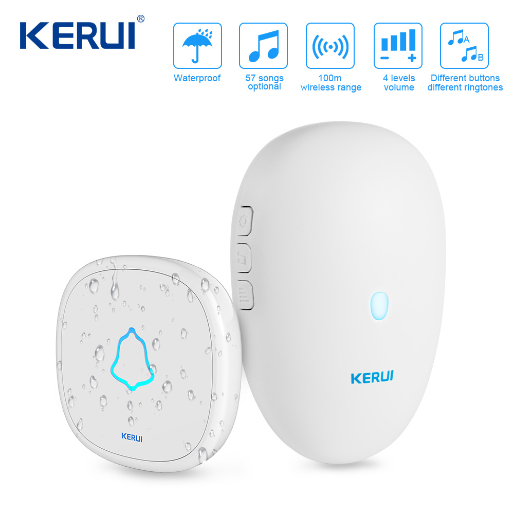 KERUI M521 Wireless Doorbell 57 Music Song 300M Waterproof Button Smart Home Door Bell Chime Ring Outdoor Doorbell