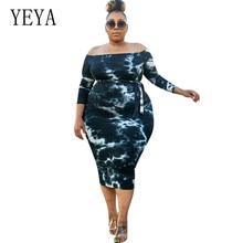 YEYA Female Vintage Print Bodycon Dress Fashion Long Sleeve Tie-up Big Size Plus Women Clothing 4XL Vestidos De Festa