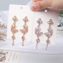 Dominada nova moda longa brilhante cristal joker doce brincos de gota contratada metal oco borboleta modelagem brincos finos