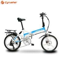 Cyrusher g550 400 w 48 v bicicleta elétrica cidade ebike 7 velocidades de freio a disco mecânico bicicleta elétrica dobrável com velocímetro inteligente