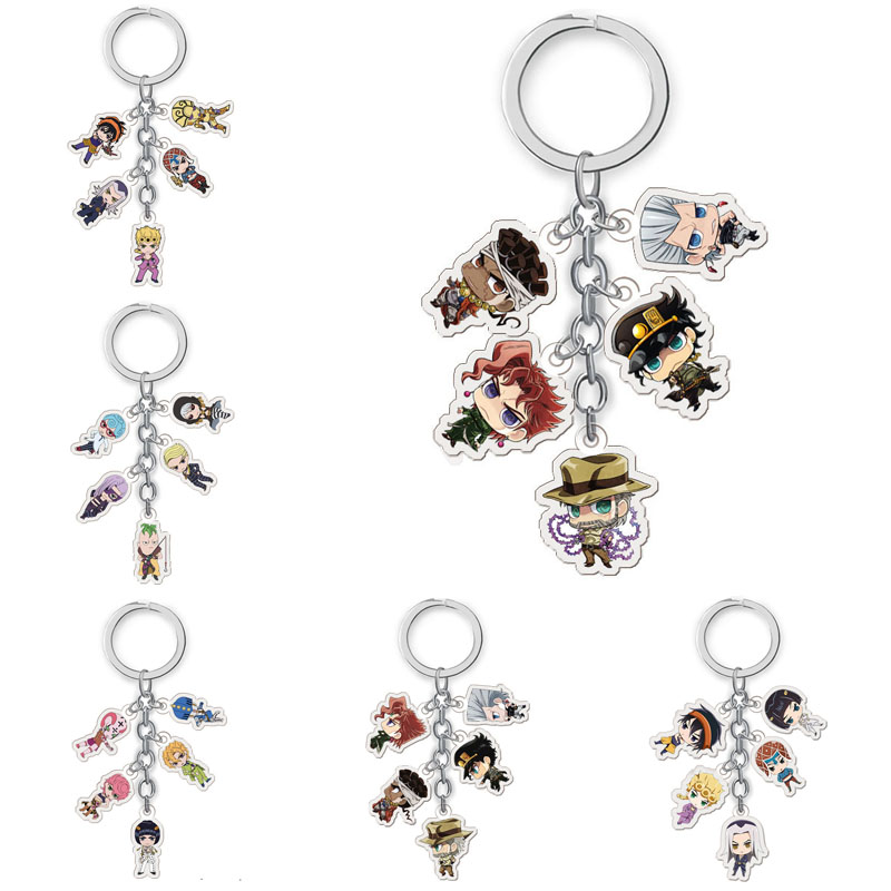 Anime Jojos Bizarre Adventure Keychain Cartoon Figure Pendent Keyring Collection Gifts