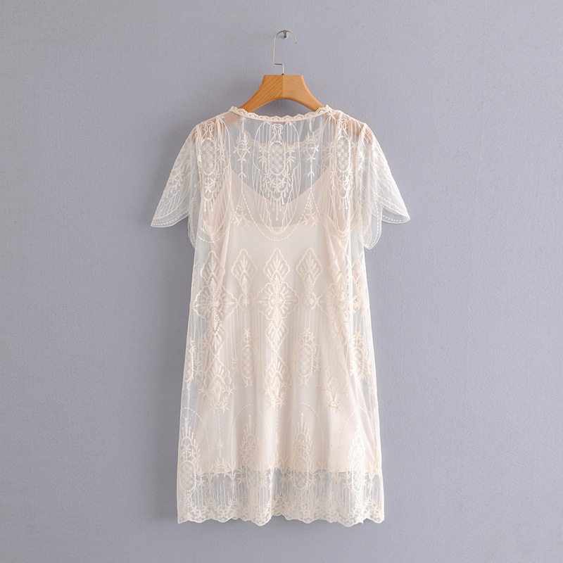 Popular Brand Europe And America Elegant Fairy Skirt Lace Crew Neck Embroidered Mesh Dress With Camisole Women's
