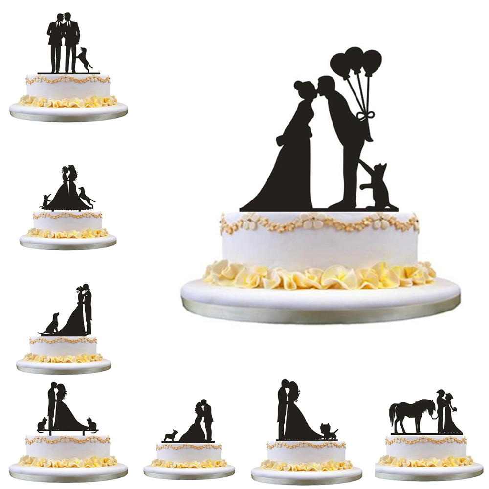 <font><b>Black</b></font> Acrylic <font><b>Cake</b></font> <font><b>Topper</b></font> Bride and Groom Silhouette with Pet Dog <font><b>Cat</b></font> Mr & Mrs <font><b>Toppers</b></font> for Wedding <font><b>Cake</b></font> Decorating Accessory image