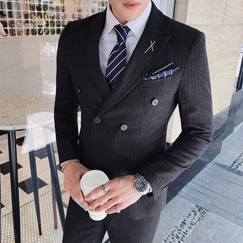 Striped slim casual suit men's business suit three-piece business double-breasted suit groom wedding ceremony