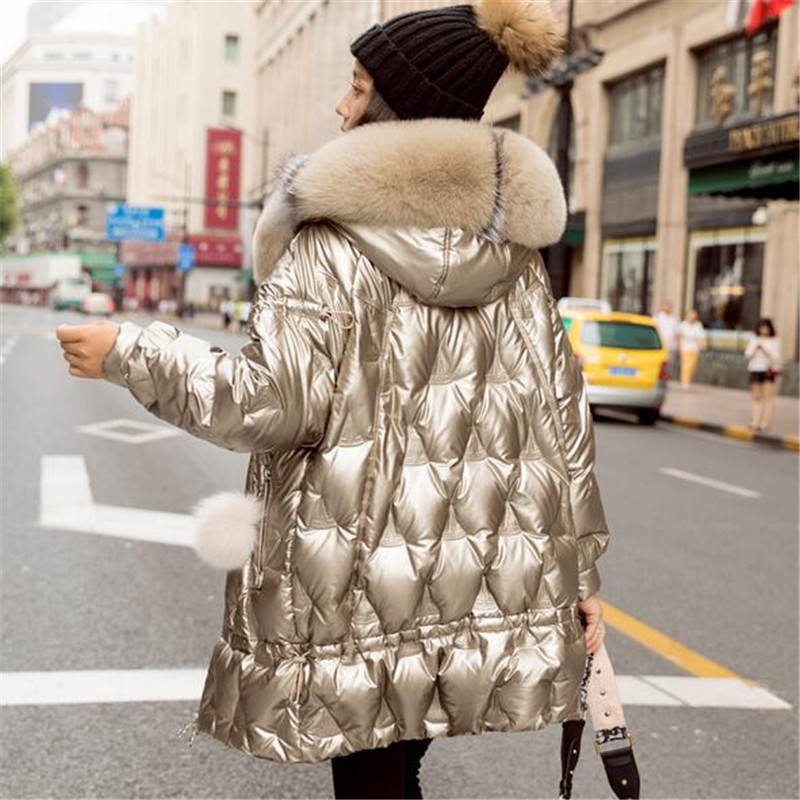Women Winter Duck Down Jacket Hooded Big Fox Fur Collar Puffer Coat Korean Shiny Womens Down Jackets Parka