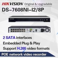 Hikvision Original NVR DS 7608NI I2/8P 8CH 8 POE NVR for POE Camera 12MP Max 2 SATA Network Video Recorder