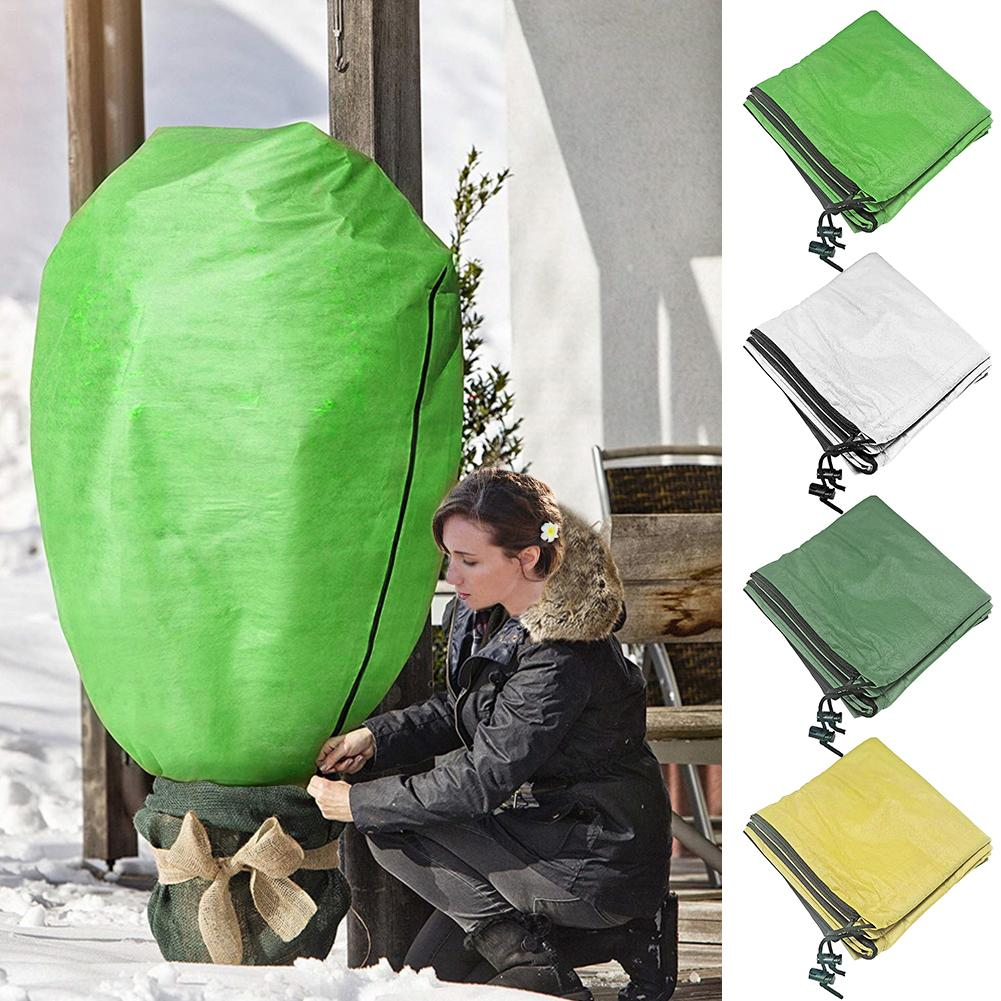 Multi-size Plant Protection Bag Winter Plant Cover Zipper Drawstring Protective Bag Anti-freeze Anti-bird Garden Tree Cover