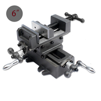 6 Inch Heavy Duty Manual Bench Table Vise with Slider Bar Vertical and Horizontal Way Cross Slide for Mechanical Hand Tools