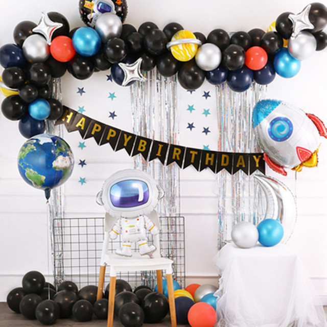 Outer Space Party Astronaut balloon Rocket Foil Balloons Explore Theme Party Boy Kids Birthday Party Decor Favors helium globals