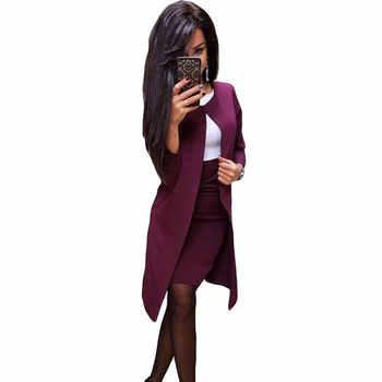 MVGIRLRU Office Lady Formal Dress Suits Business Wear Women Long Blazer Jacket+ Sheath Dress 2 Piece Set - DISCOUNT ITEM  40% OFF All Category