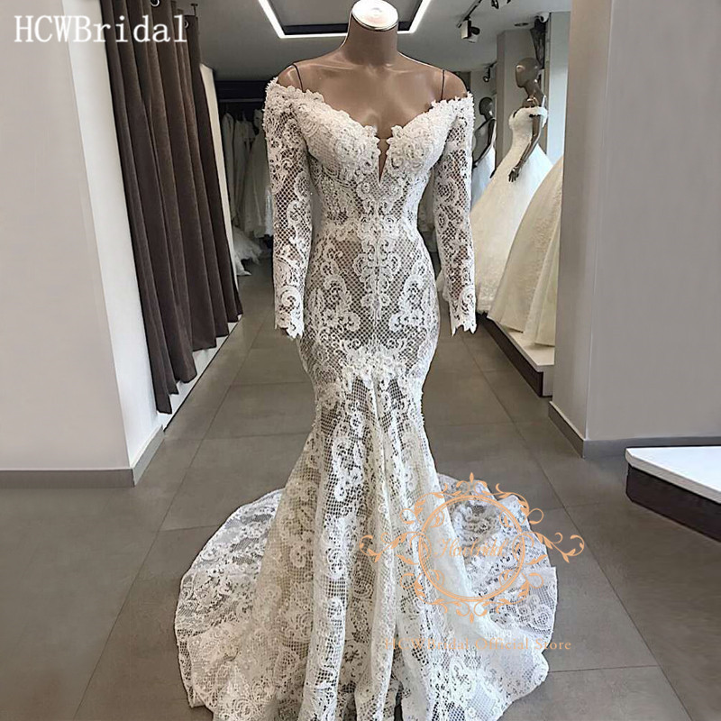 Real Photos Lace Mermaid Long Sleeves Wedding Dresses Robe De Mariee 2020 Backless Off The Shoulder Sexy Bridal Dress Customize