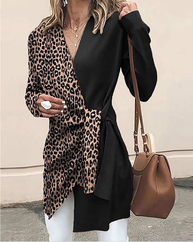 Stitching Leopard Print Irregular Contrast  Women Suit Casual Streetwear Blazer Suits Female Blazer Sets Office Ladies Blazer