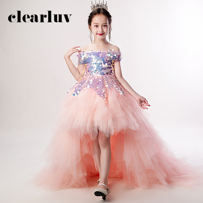 Girls Princess Dress B019 2020 Pink Off The Shoulder Sequins Flower Girl Dresses Elegant Short Sleeve Boat Neck Train Ball Gown