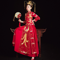 Phoenix Long Qipao Evening Gown Chinese Bride Dress Vintage Embroidery Ancient Oversize 3XL Wedding Gift Novelty Marriage Suit
