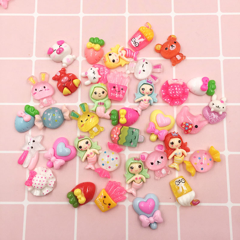 50Pcs Mix Colorful Resin Kawaii Animals Flowers Candy Flat Back Cabochons Scrapbooking For Phone Hair Bow Center DIY Crafts