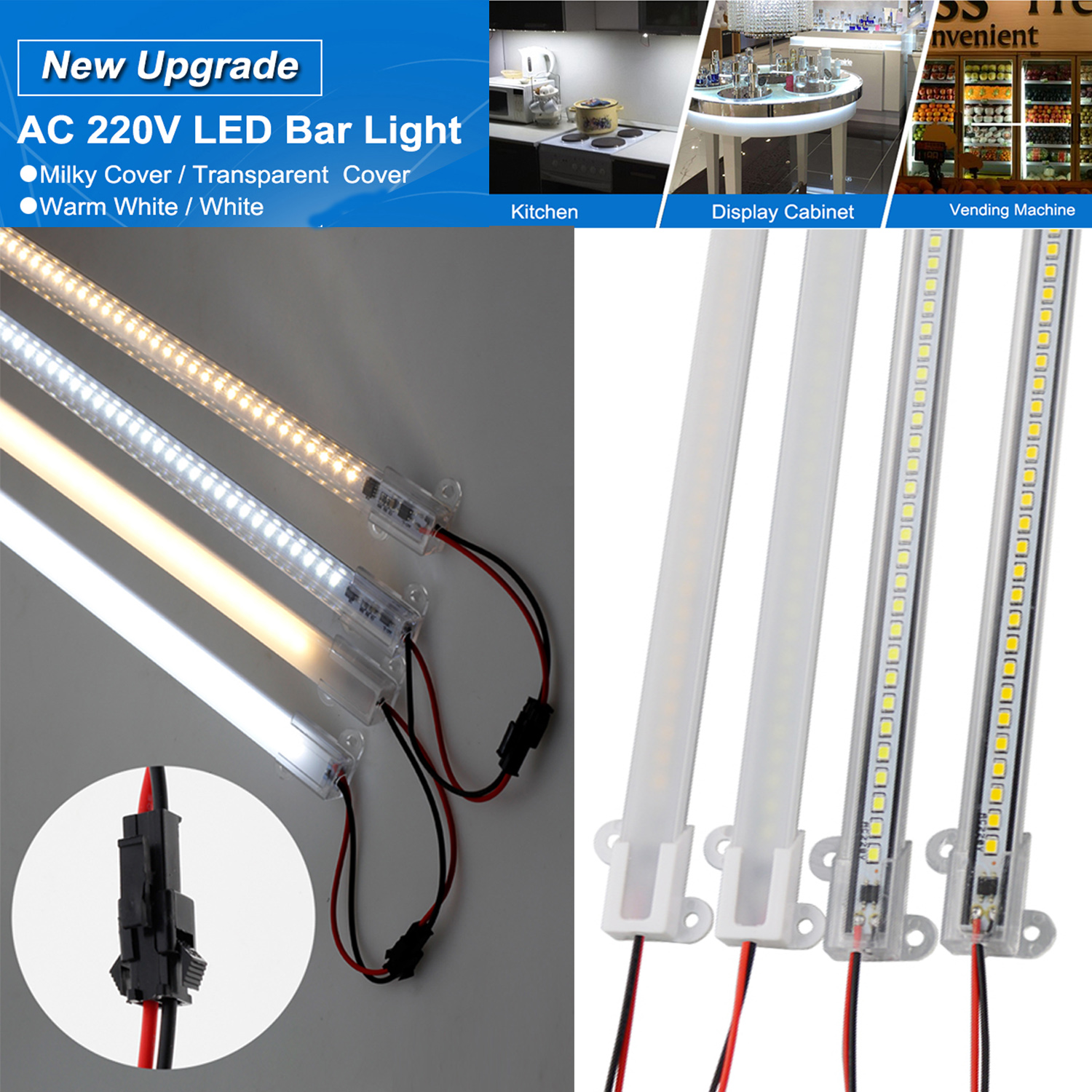 AC 220V LED Rigid Light Strip High Brightness 30cm/40cm SMD LED Fluorescent Floodlight Tube Bar Industries Showcase Display Lamp