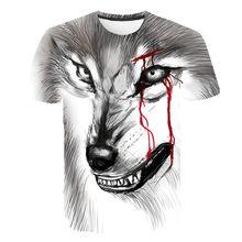 Fashion Men's T-shirt 3D Wolf Print Funny Shirt Short Sleeve Summer xs-6XL 2021 Creative Three-dimensional Fashion T-shirt