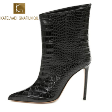 KATELVADI Shoes Woman Fashion Ankle Boots 12.5CM Thin Heel Sexy Pointed Toe Ladies Winter Black Snake Pattern K-551