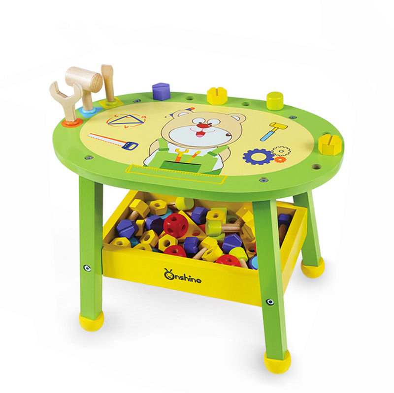 [Funny] Children simulation wooden maintenance tool table Multi-functional education desk DIY assembly Nut blocks toy kids gift