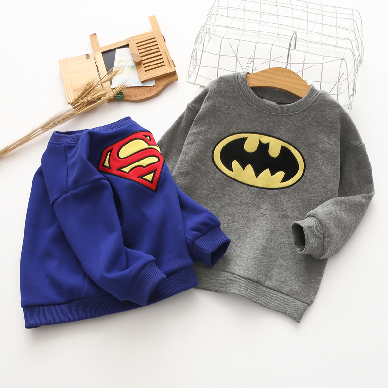Long-Sleeve Hoodie Batman Superman Autumn/winter Children New The for with Round-Collar
