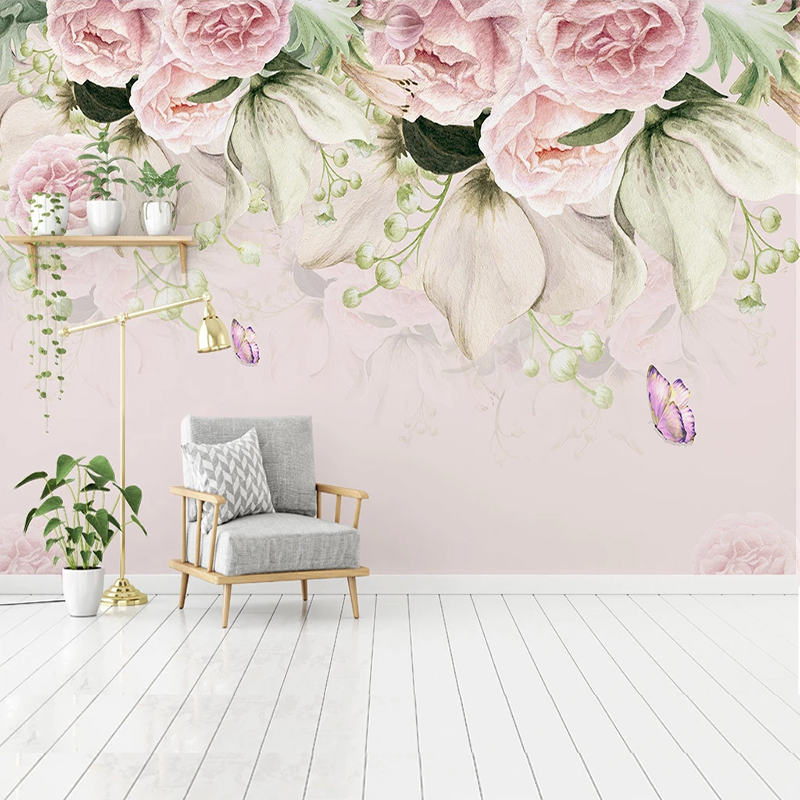 Custom Mural Wallpaper 3D Nordic Style Hand-painted Flower Butterfly Fresco Living Room Bedroom Home Decor Wall Papers For Walls