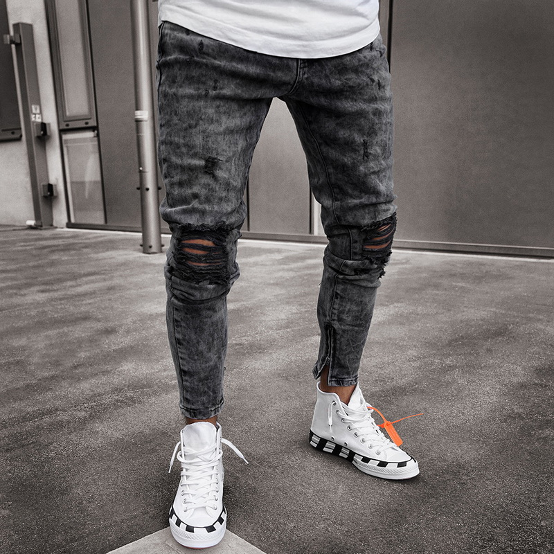 2020 New Men Ripped Printed Skinny Jeans Destroyed Frayed Slim Fit Denim Pant Casual Men Slim Hole Zipper Balck Jeans Pants
