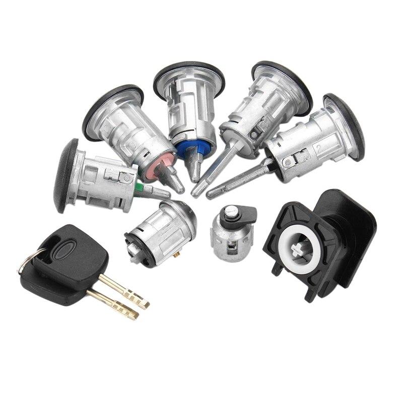 AMS-8Pcs Car Barrel Door Locks Keys Set 4425134 For FORD TRANSIT Connect 2002-2007