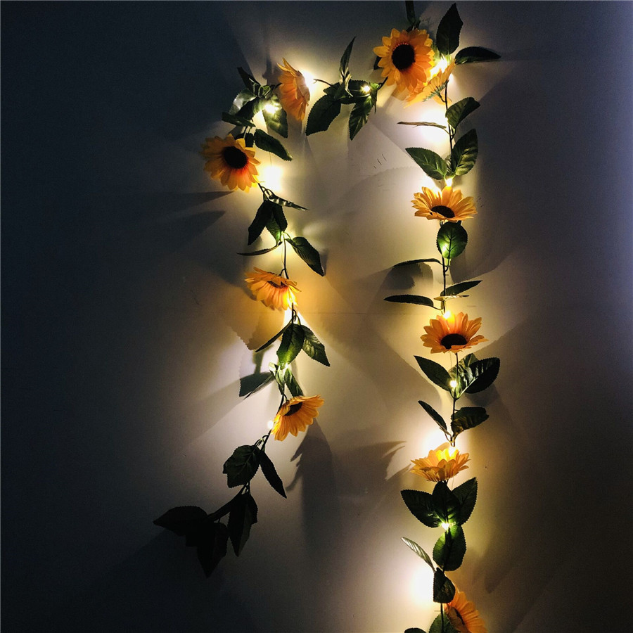 Battery Operated Sunflower Vine LED String Lights 2M 20leds Green Leaf Garland Wedding Valentine's Day Christmas Decor Lamp