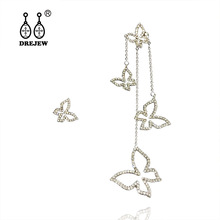 DREJEW Asymmetry Heart Butterfly Star Gold Silver Statement Earrings 2019 Tassel Drop for Women Fashion Jewelry HE191